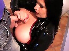 Latex Tramp in the Kitchen - Latex Blowjob Handjob - Cum on my Tits