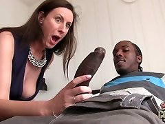 Big dark-hued dude fucks whorish mature chick Lara Latex