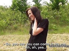 Stranded teenage cutie bangs giant dick outdoor