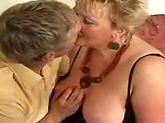 Large golden-haired grandma drilled by youthful man
