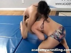 Tight Choke Submission Inbetween Dominant Girl on academy grappling