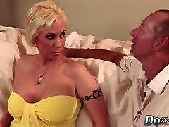 Blonde MILF wifey big salami anal creampie