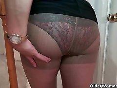Busty milf Mia Jones strips off and fucks a dildo