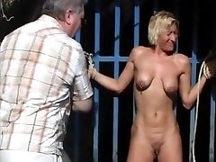 Outdoor whipping of ash-blonde wifey in hardcore public bdsm and milf humiliated