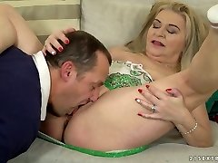 Chunky blondie haired dirty harlot Betsy B is so into working on stiff dick