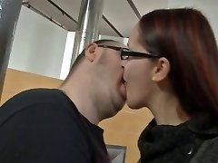 German girl with glasses and nice udders getting fucked