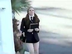 Scarlett Fay Shortest Student Miniskirt Imaginable gets Exploited
