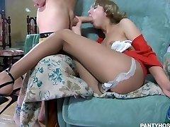 Drunk russian skinny teen in stocking