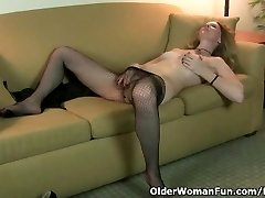 American milf Lacy strips off and masturbates in pantyhose