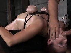 Breast bondage sub bent backwards