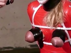 Extreme gagging and breast cording for mature hussy