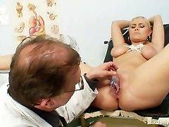 Busty Alexa Bold gyno examination and tits bondage at kinky clinic