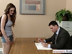 Glorious coed in glasses Molly Jane pound in classroom
