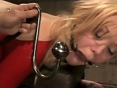 Blonde BDSM Victim in Red Latex Suit Torn Up Rigid.Warning:Extreme Deepthroat!