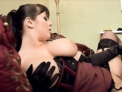 Filthy maid gets on her knees to lick her mistress honeypot