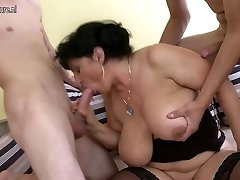 2 young cocks for Big breasted drizzling mature MOM