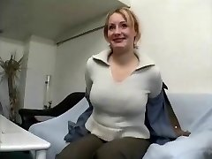 Obese mature blonde female gives interview and unwraps