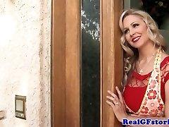 Mature platinum-blonde housewife titfucks the milkman