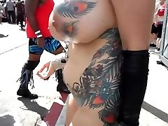 Big-chested mature exhibitionist with fumbling in public