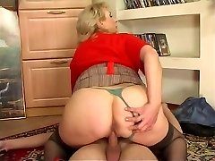 Russian big-chested maid fucked by youthfull guy at home