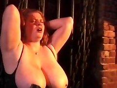 Kinky couple spanking horny roped bitch