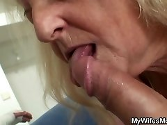 Blond old granny rails his big dick