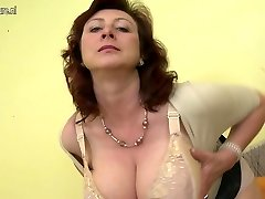 Humungous breasted mother Jana loves to have fun with her furry pussy