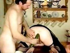 Cuck husband ram Cucumber in fat ass hole