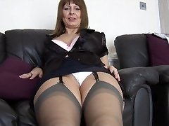 Mature busty secretary talks messy