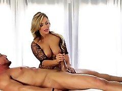 Blonde masseur strokes