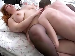red-haired bbw mummy and her son on bed