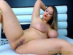 Babe With Gigantic Tits Donk And Nipples Masturbates