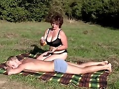 Brunette Plus-size-Milf Outdoors by Young Boy