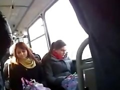 Flashing a big bone for a curious girl in the bus