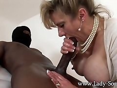 MILF Chick Sonia strokes HUGE black manhood