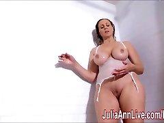 Stellar Cougar Julia Ann Lathers Her Big Tits in Shower!