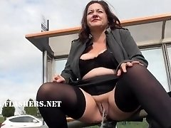 Chubby Andreas public nudity and horny mum flashing outdoors with british