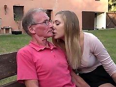 Hefty old cock teaching teenie blonde anal fuck positions