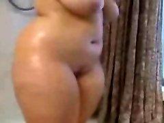Fat BBW Ex Girlfriend taking a Super-hot shower, nice Tits