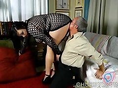 Super jaw-dropping fatty in fishnet bodysuit gets blasted with cum