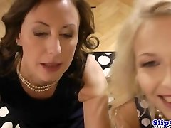 Fashionable eurobabe shares dick with glamour milf