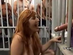 Bukkake - Fuckslut with big cupcakes in american prison bukkake