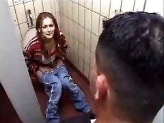 German Mega-slut gets it on Toilet