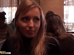 Blonde babe Stacy does deep throat in wc