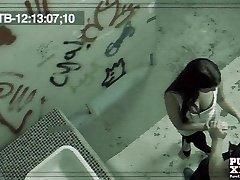 PureXXXFilms Horny Brunette poked hard in public toilet