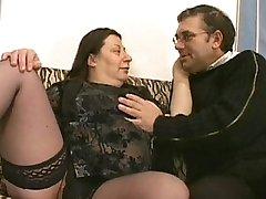 Horny plumper sucks down some big cock