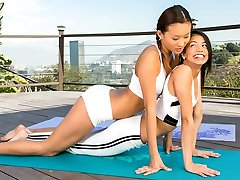 Yoga with two beauties