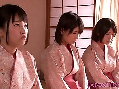 Slapped japanese teens queen boy while wanking him off
