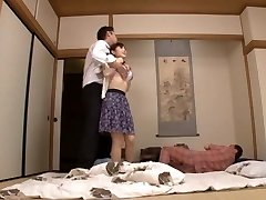Housewife Yuu Kawakami Nailed Hard While Another Boy Watches