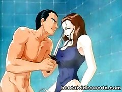 Showering anime chick gets owned